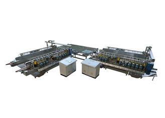 China PLC automatic Glass Double Edging Machine With Turning Table Conveyor supplier