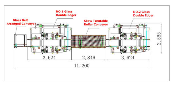China Bevel 45 Arris Glass Double Edging Machine Line For Refrigerator Glass Shelf supplier
