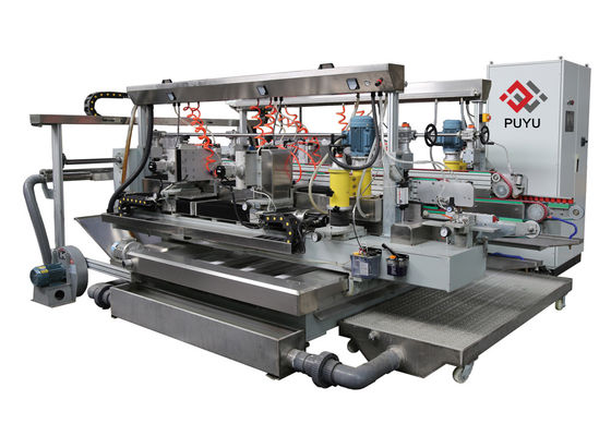 China PLC touch screen Glass Double Edging Machine For R 2 Degree With Double Servo distributor