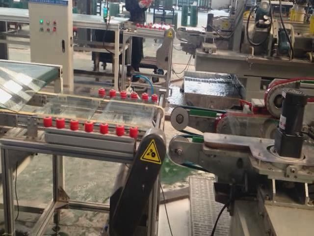 Bevel 45 Arris Glass Double Edging Machine Line For Refrigerator Glass Shelf